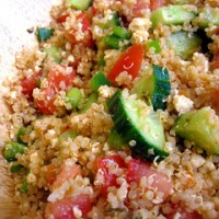 Greek style quinoa salad with Donna Hay's yoghurt dressing