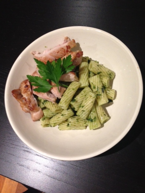 Toss penne with pasta of choice. Here I've used rigatoni and served with some grilled lemon chicken.